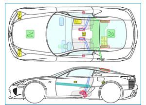 CRS Rettungskarte des Lexus LF-A mit Gurtairbag
